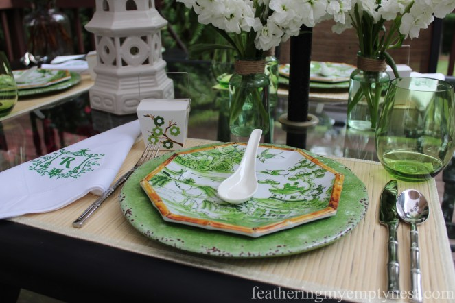 Green and white Asian themed summer tablescape--Dim Sum On The Deck: A Chinese Take-out Dinner Party-featheringmyemptynest.com