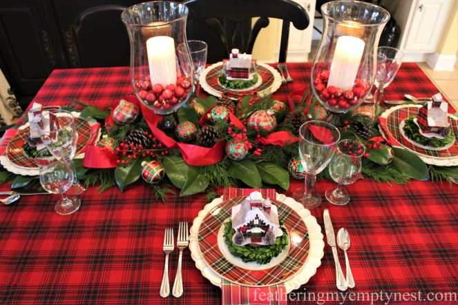 Red and green plaid take center stage in this festive Christmas tablescape --Pancakes & Plaid: A Christmas Breakfast Table