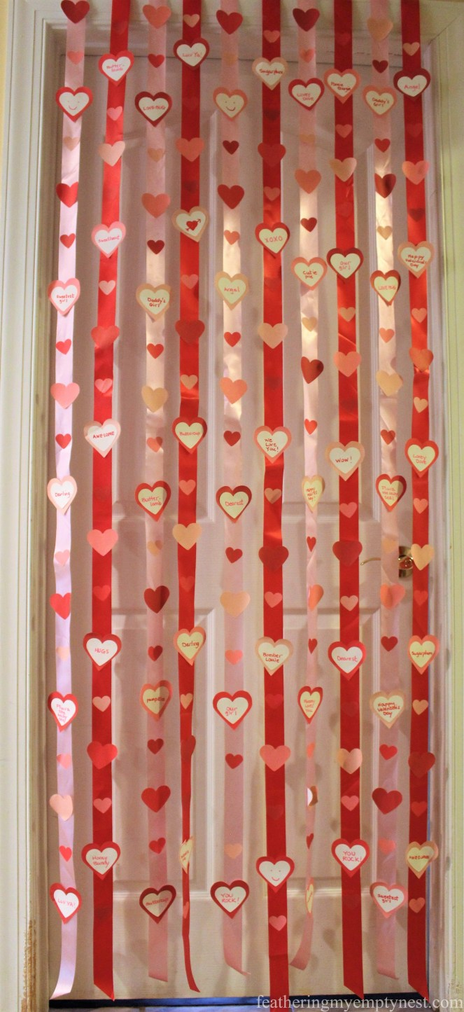 Valentine door curtain of conversation hearts streamers --Valentines Ideas: Love Notes Through The Years