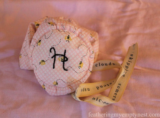 Embroidered initial on the bottom of a DIY fabric jewelry pouch ----Valentines Ideas: Love Notes Through The Years