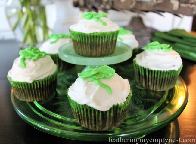 Cake plate of St. Patrick's Day Irish Cream Shamrock Cupcakes