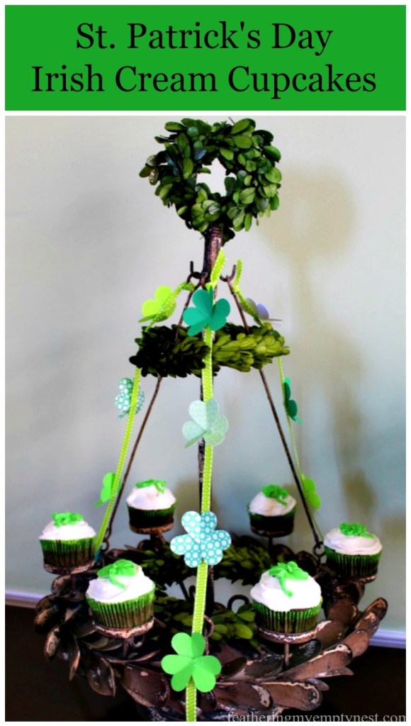 Recipe for St. Patrick's Day Irish Cream Cupcakes as well as a festive idea for displaying them at your St. Patrick's Day Celebration