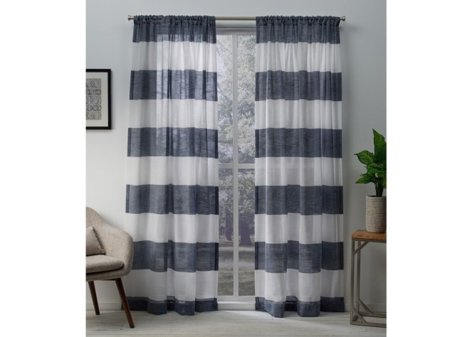"These striped sheer draperies allow light in the room while providing privacy --""Inexpensive Apartment Decorating Ideas"""