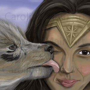 Wonder woman and Pup 8×10 Print