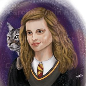 Hermione & Crookshanks 8×10 Print