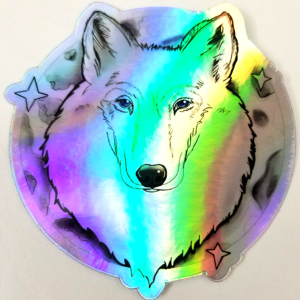 Holographic Wolf Sticker