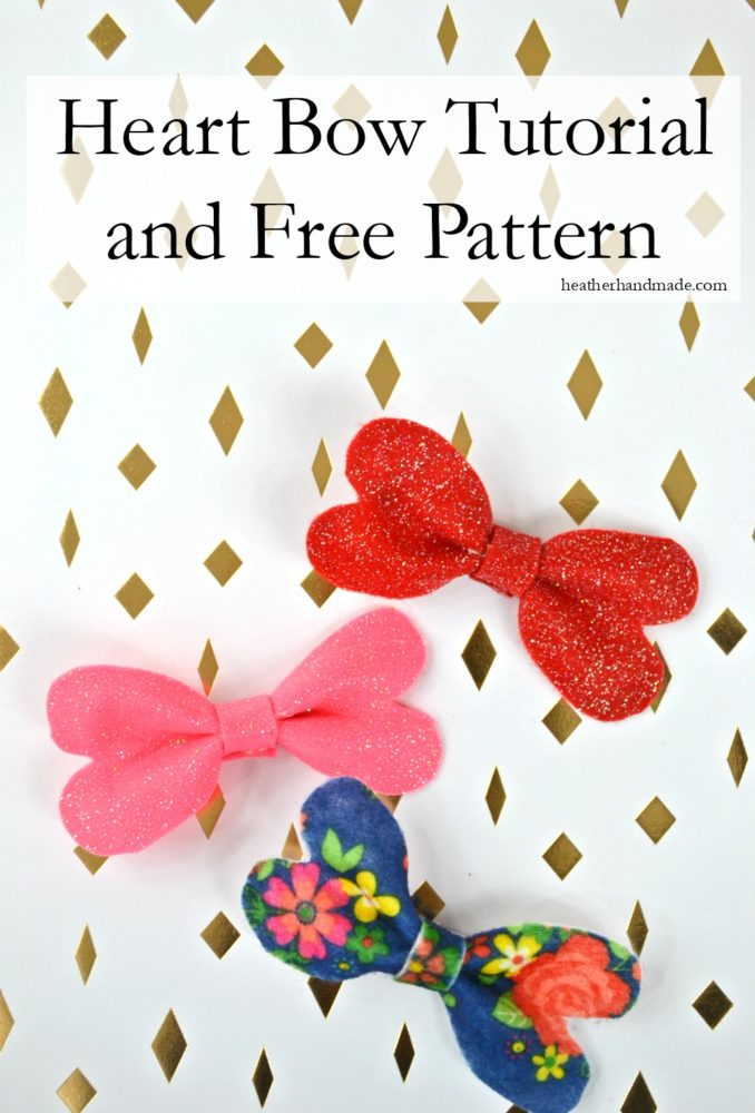 Tutorial and pattern: No-sew heart bow