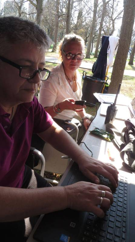 WYWL base camp Sharon Jackson (Exex Producer) and Jooy Hoes (3rd AD)