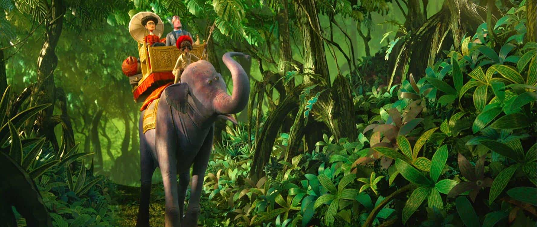 Missing Link movie riding an elephant in the rainforest
