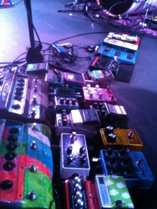 Nick's pedal board at their Leeds show