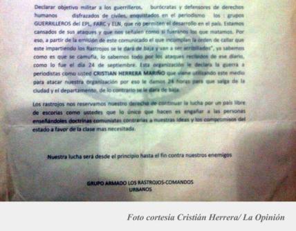 Panfleto de la última amenaza que recibió Cristián Herrera, y que fue lanzado por debajo de la puerta del periódico Q'Hubo Cúcuta