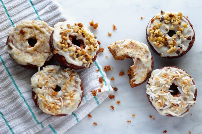 Paleo Carrot Cake Donuts - soft, coconut butter-glazed carrot cake donuts that are grain-free, gluten-free, nut-free, and refined sugar-free! | fedandfulfilled.com