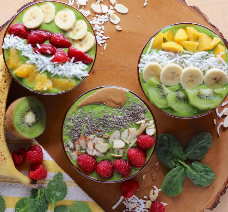 Spring Green Smoothie Bowls - a power-packed blend of fruits and veggies that makes a healthy breakfast, snack, or dessert! | fedandfulfilled.com