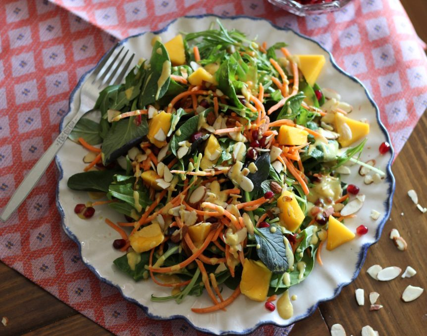 Mango Pomegranate Salad with Creamy Curry Dressing - a colorful 5 ingredient salad with a tangy, curry dressing.| fedandfulfilled.com