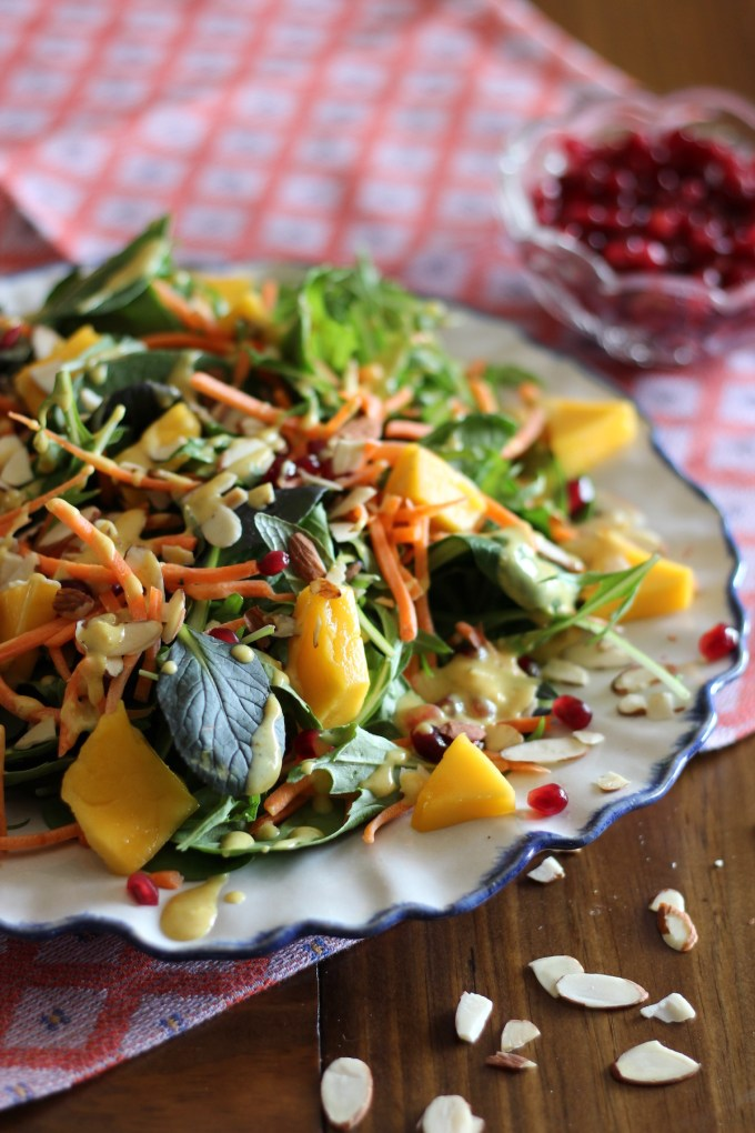 Pomegranate Mango Salad with Creamy Curry Dressing- a beautiful salad for any time of the year! | fedandfulfilled.com