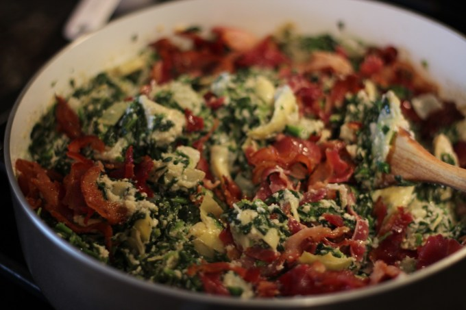 Spinach Artichoke and Bacon Dip - a delicious dip that you can serve warm or cold for your next party or game night! | fedandfulfilled.com
