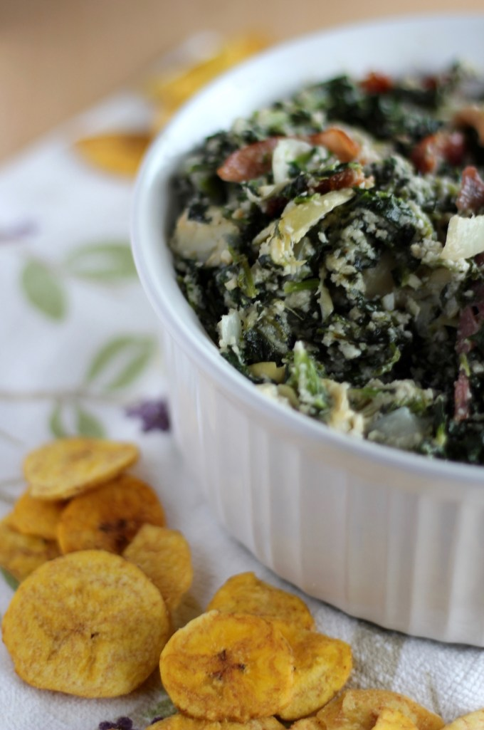 Spinach Artichoke and Bacon Dip - a creamy, dairy-free dip loaded with bacon, perfect for your next party! | fedandfulfilled.com