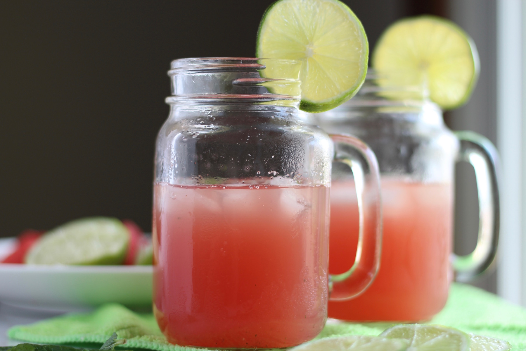 Sparkling Watermelon Mint Agua Fresca - a colorful, healthy beverage full of juicy watermelon, mint, lime, and coconut water, served over your favorite sparkling water! | fedandfulfilled.com
