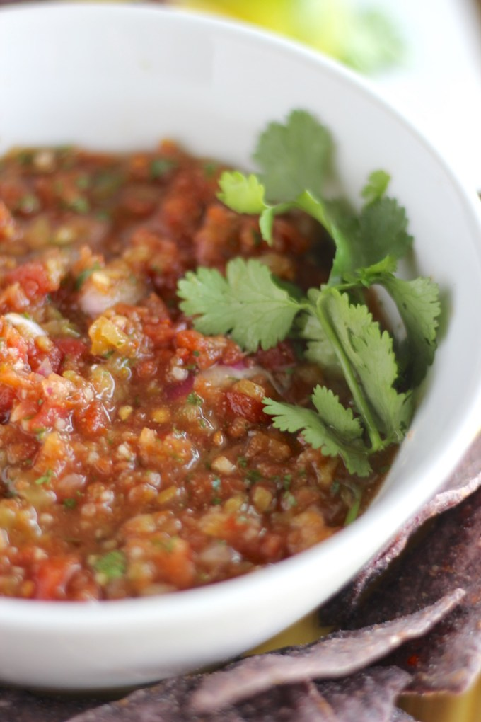 Simple Blender Salsa - a ridiculously easy salsa recipe that tastes SO much better than store-bought! All you need is a hand blender! | fedandfulfilled.com
