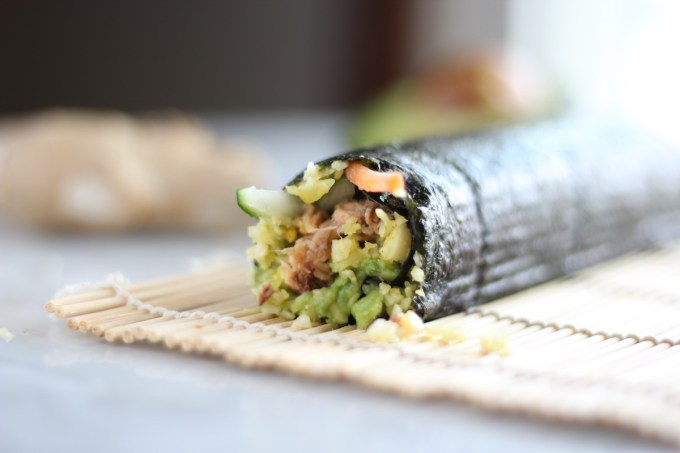 Salmon Sushi Rolls - a super healthy, AIP and paleo sushi roll that you can throw together in minutes! | fedandfulfilled.com