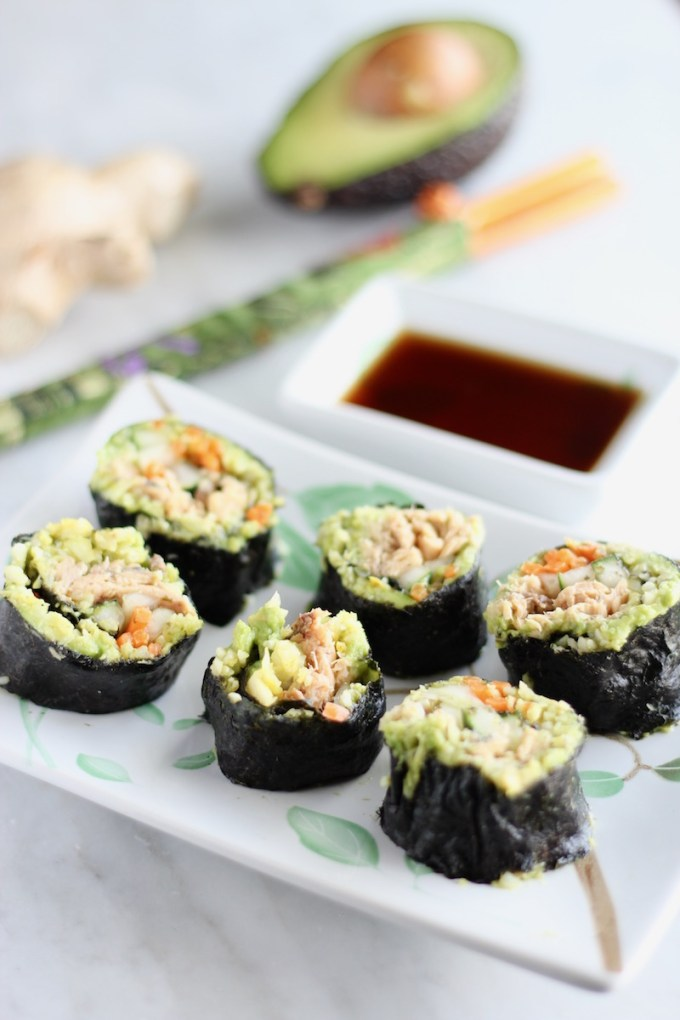 Salmon Sushi Rolls - AIP sushi made with wild-caught cooked salmon that rolls and cuts perfectly thanks to a ginger avocado mash! Easy and delicious! | fedandfulfilled.com
