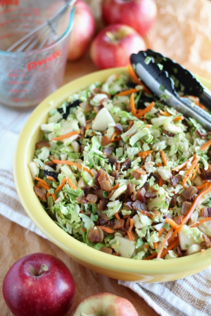 Apple Bacon Brussels Sprouts Salad - a flavor-packed Fall salad loaded with bacon, apples, brussels sprouts, carrots, dried cherries, and an apple cider bacon vinaigrette! AIP and Paleo. | fedandfulfilled.com