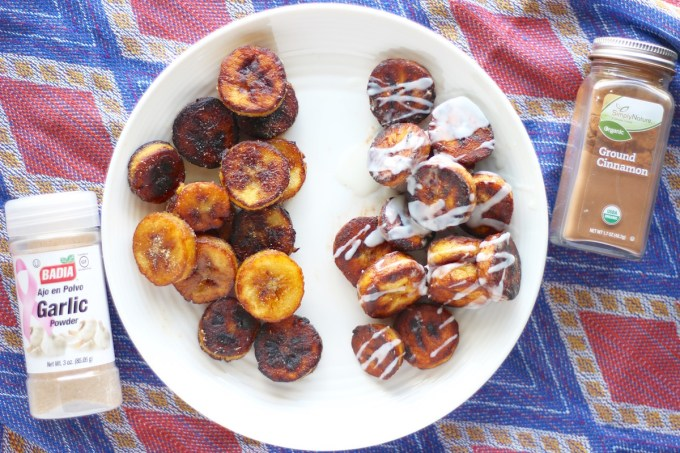 Sweet and Savory Fried Plantains - plantains, two ways! Enjoy them sweet with cinnamon and coconut butter, or savory with garlic and sea salt! | fedandfulfilled.com