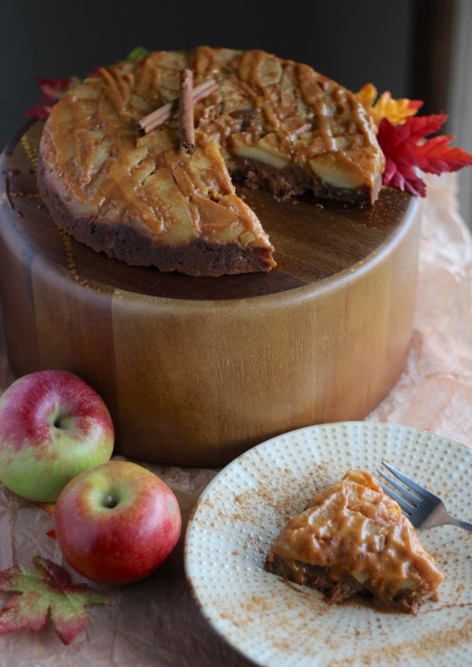 Paleo Caramel Apple Upside Down Cake (AIP) - a thick, dense apple cake is topped with warm, gooey salted caramel for an epic Fall dessert! | fedandfulfilled.com