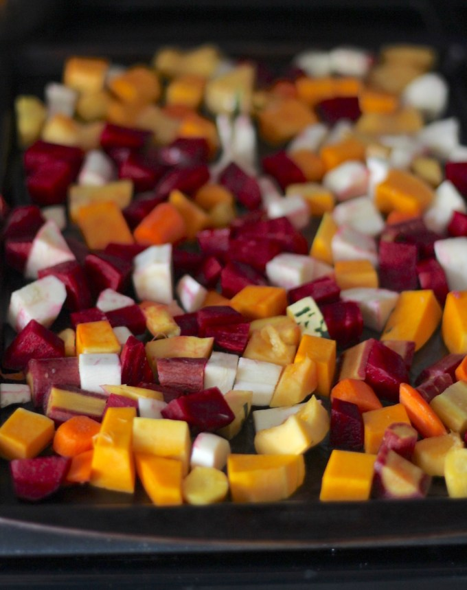 Roasted Rainbow Root Veggies - a simple, yet flavorful side dish, perfect for Thanksgiving! | fedandfulfilled.com