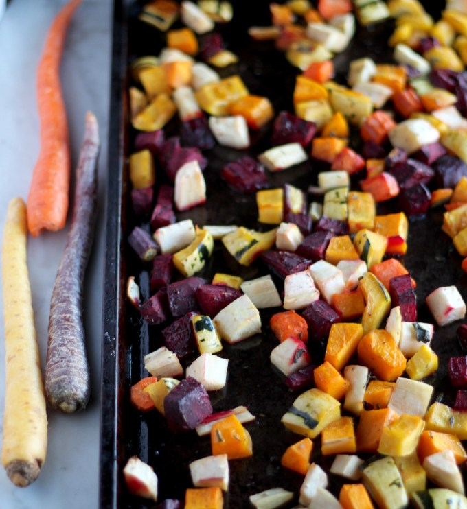 Roasted Rainbow Root Veggies - a Paleo, AIP side dish full of color and flavor thanks to seasonal veggies and squash, fresh sage, and balsamic! | fedandfulfilled.com