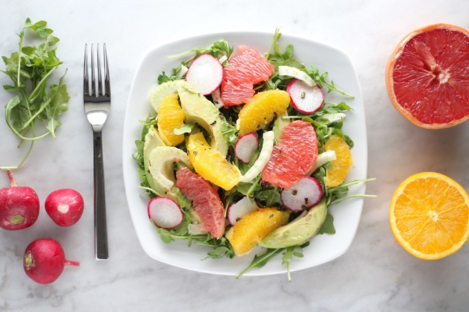 Citrus Fennel Salad with Grapefruit Vinaigrette (AIP) - this healthy, refreshing salad features juicy grapefruit and orange, fennel, radish, avocado, and peppery arugula! | fedandfulfilled.com