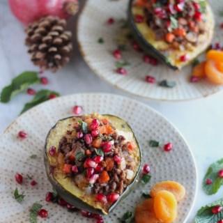 Paleo Moroccan Lamb Stuffed Squash (AIP) - a healthy, exotic take on stuffed acorn squash thanks to lamb, fresh mint, pomegranates, and dried fruit! | fedandfulfilled.com