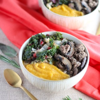 Creamy Beef and Greens Bowls (AIP) - a healthy, comforting meal of creamy cauliflower squash puree, grassfed beef and mushrooms, and colorful mixed greens! | fedandfulfilled.com