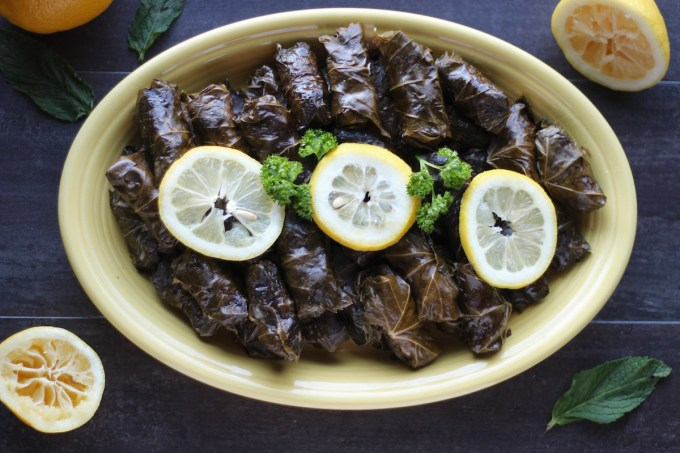 Instant Pot Paleo Stuffed Grape Leaves (AIP) - delicious, lemony grape leaves are stuffed with flavorful beef, cauliflower, raisins, herbs and spices for an amazing Middle Eastern meal! | fedandfulfilled.com
