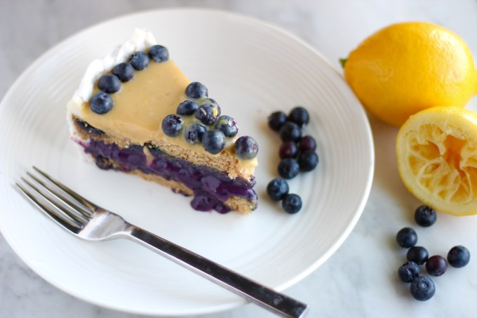 Paleo Lemon Blueberry Layer Cake (AIP) - a luscious lemon layer cake is filled with sweet blueberries and topped with creamy lemon curd for an out-of-this-world dessert! | fedandfulfilled.com