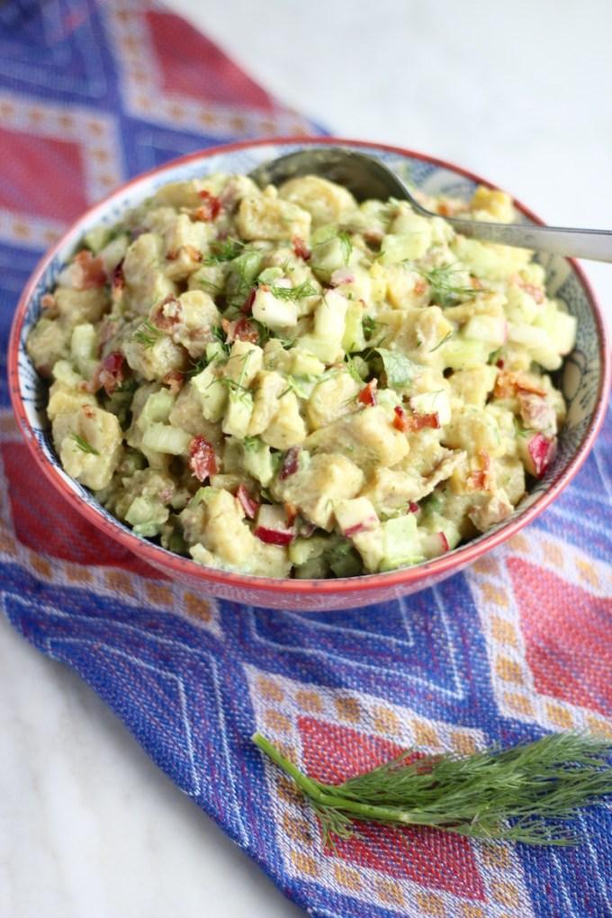 "Paleo Plantain ""Potato"" Salad (AIP) - this potato-free salad tastes just like the original, thanks to plantains, avocado ranch dressing, and crispy veggies and bacon! | fedandfulfilled.com"