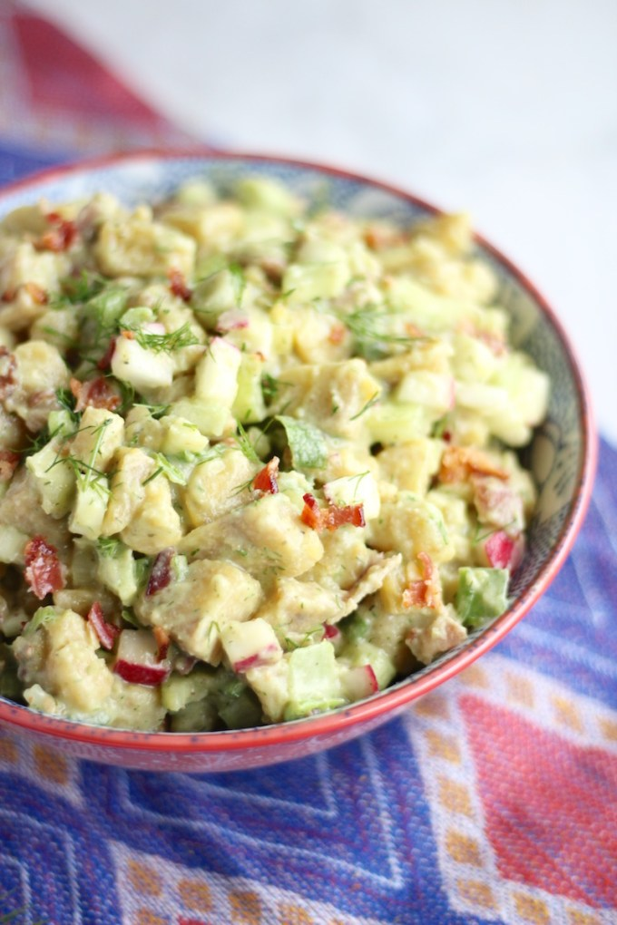 "Paleo Plantain ""Potato"" Salad (AIP) - a lighter, healthier version of classic potato salad, made with green plantains, bacon, and dairy-free avocado ranch dressing! 