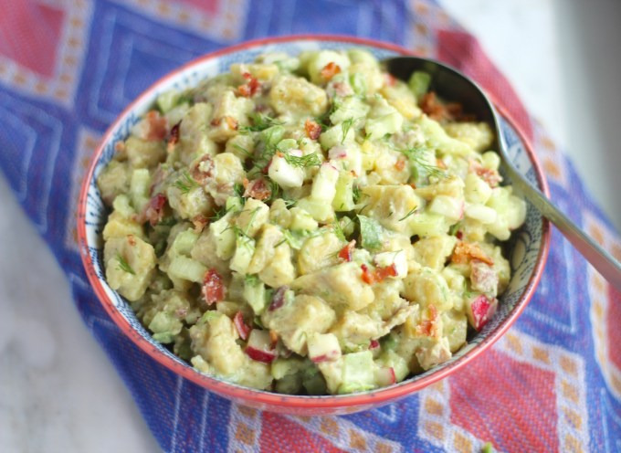 """Paleo Plantain """"Potato"""" Salad (AIP) - plantains take the place of potatoes in this allergy-friendly salad, full of bacon ranch flavor! 