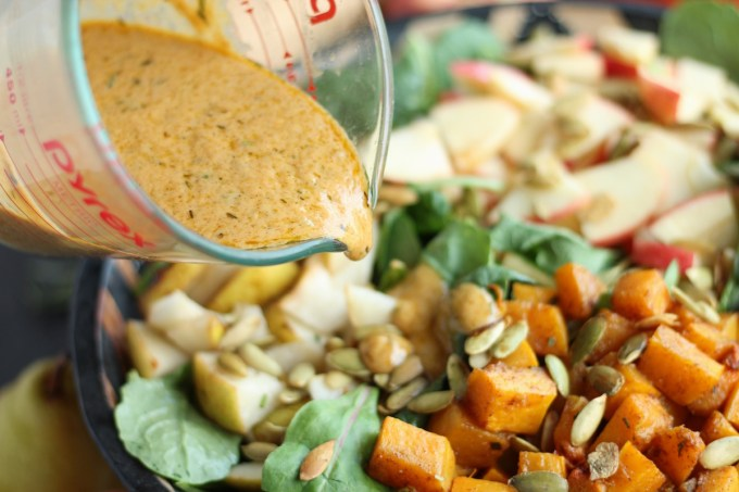 Fall Harvest Salad with Creamy Pumpkin Dressing (AIP, Paleo) - a colorful, flavorful side salad to go with any Fall meal! Top it with chicken for a main dish or easy lunch! | fedandfulfilled.com