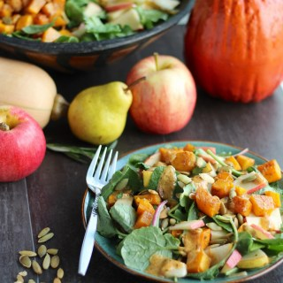 Fall Harvest Salad with Creamy Pumpkin Dressing (AIP, Paleo) - crisp apples, juicy pears, toasted pumpkin seeds, roasted squash, and pumpkin spice dressing make the perfect Fall salad! | fedandfulfilled.com