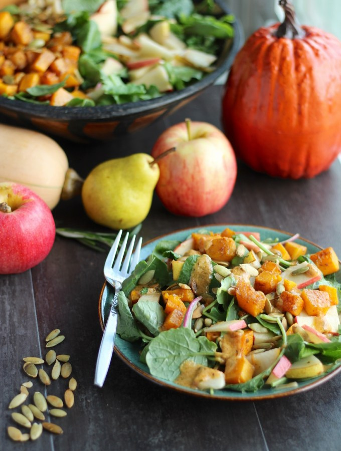 Fall Harvest Salad with Creamy Pumpkin Dressing (AIP, Paleo) + Transitions