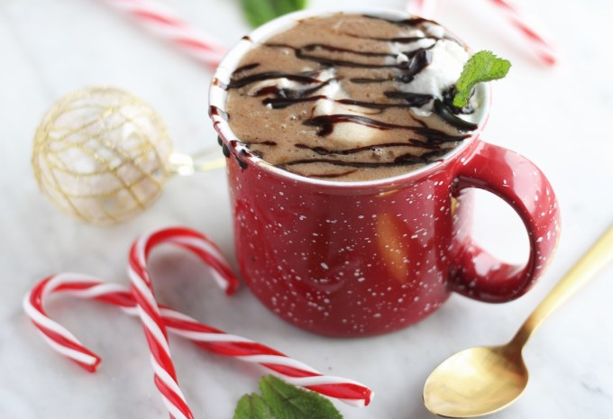 AIP Peppermint Hot Cocoa (Paleo) - this festive drink features peppermint tea-infused coconut milk, carob, honey, and creamy clouds of peppermint whip and a dark carob sauce! | fedandfulfilled.com