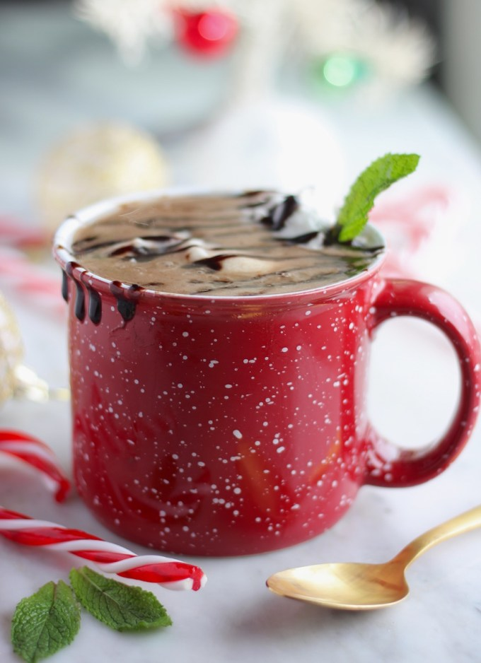AIP Peppermint Hot Cocoa (Paleo) - peppermint-infused coconut milk is combine with carob, collagen, and honey and adorned with peppermint whipped cream and carob drizzle! Epic! | fedandfulfilled.com