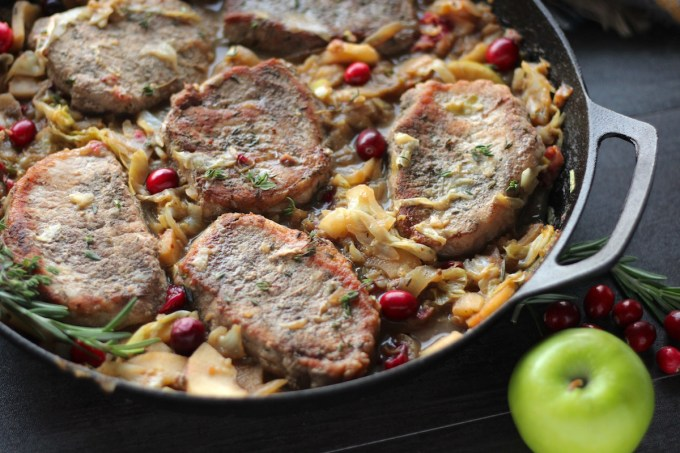 Apple Cranberry Skillet Pork Chops (AIP, Paleo) - healthy and delicious dish that is special enough for Christmas or New Year's and simple enough for a weeknight meal! | fedandfulfilled.com