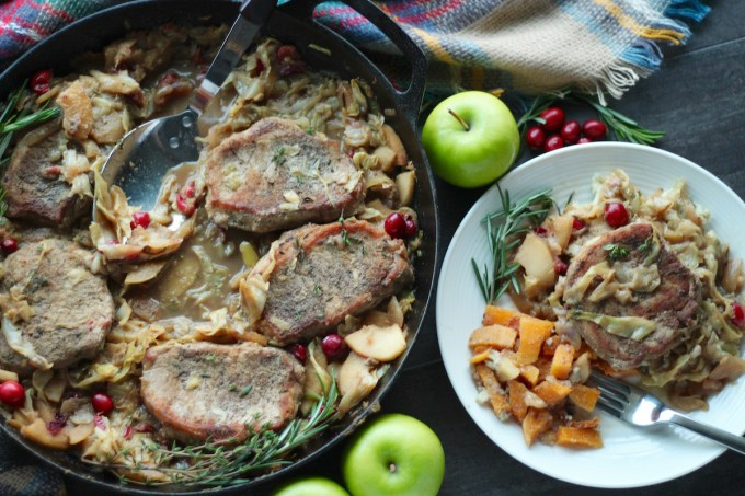 Apple Cranberry Skillet Pork Chops (AIP, Paleo) - this sweet and savory main course is a great way to perk up pork chops! Healthy, simple, and delicious! | fedandfulfilled.com