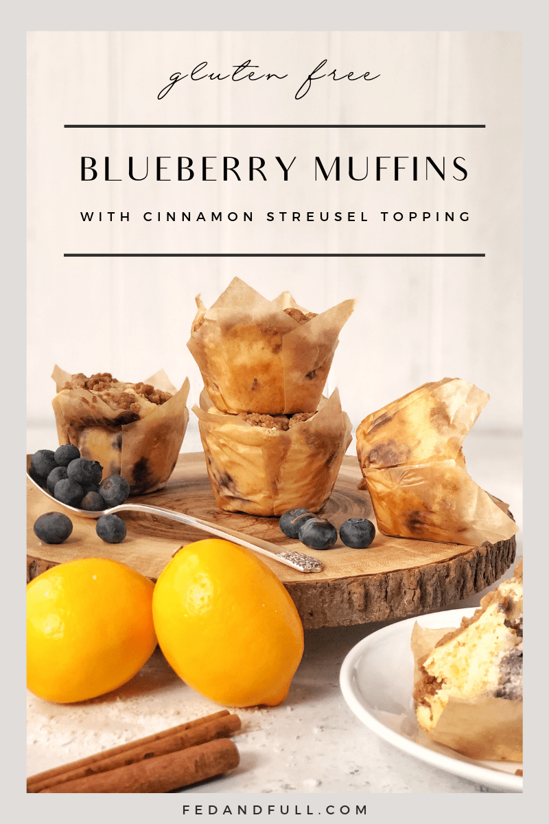 Blueberry Muffins with Cinnamon Streusel Topping that are gluten free by Fed & Full