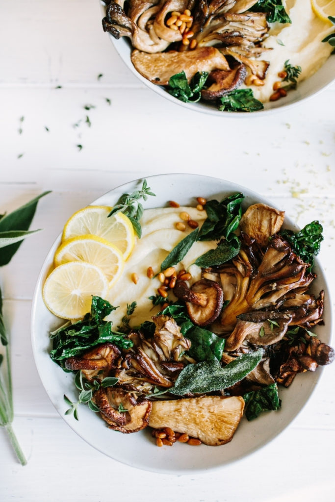 Pan-Seared Mushrooms with Parsnip Puree and Herb Butter