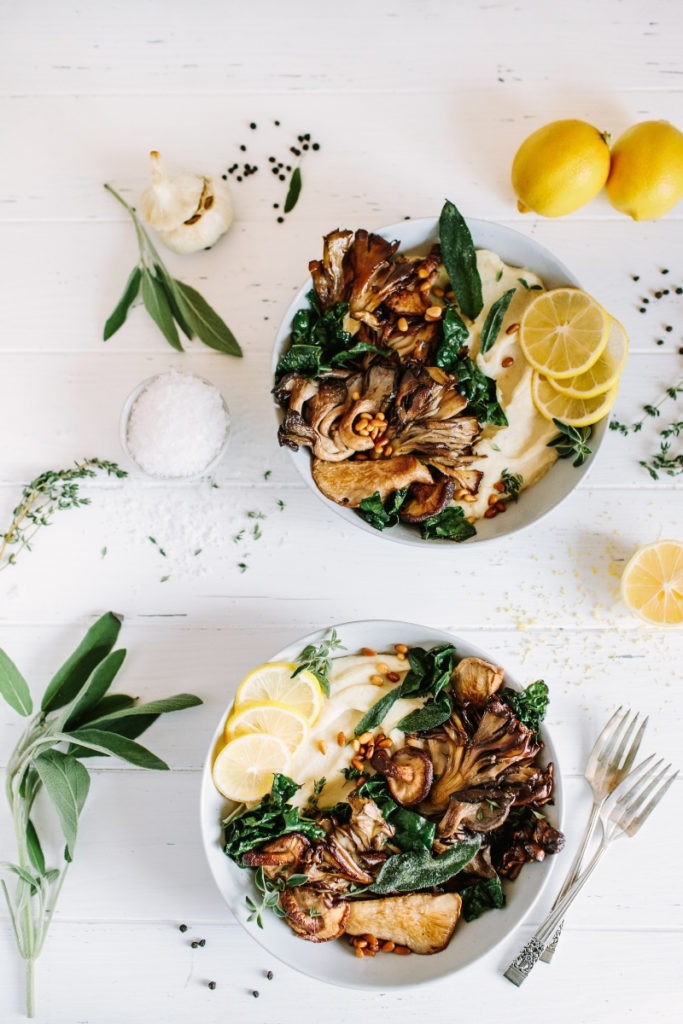 Pan-Seared Mushrooms with parsnip puree, wilted kale, toasted pine nuts, and meyer lemon garlic parsley butter
