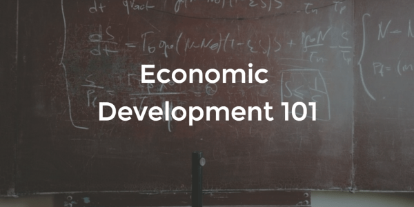 Image of chalkboard with Economic Development 101 text