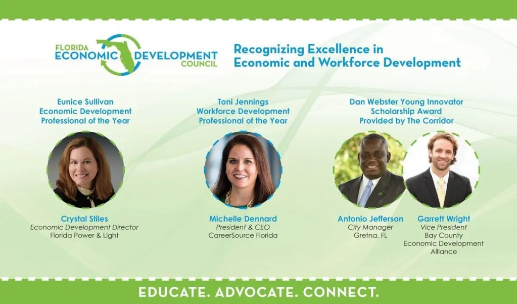 Slide showing 2019 FEDC Economic Developers Award Winners